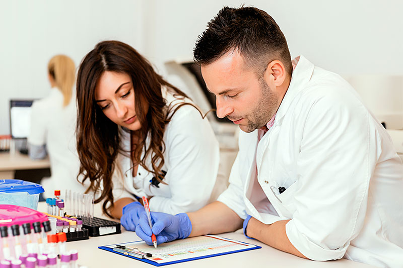 Two researchers reviewing results
